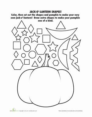 Halloween Kindergarten Shapes Holiday Worksheets: Jack-o'-Lantern Cut Outs