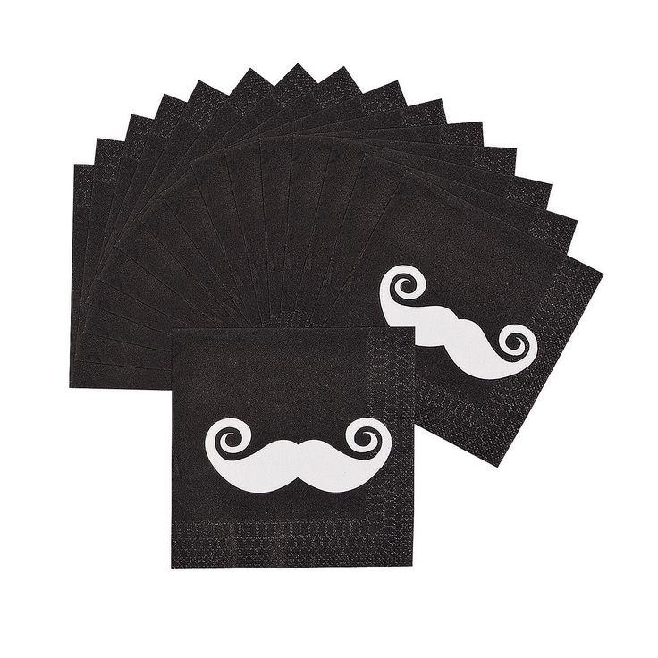 Moustache Party Beverage Napkins - OrientalTrading.com