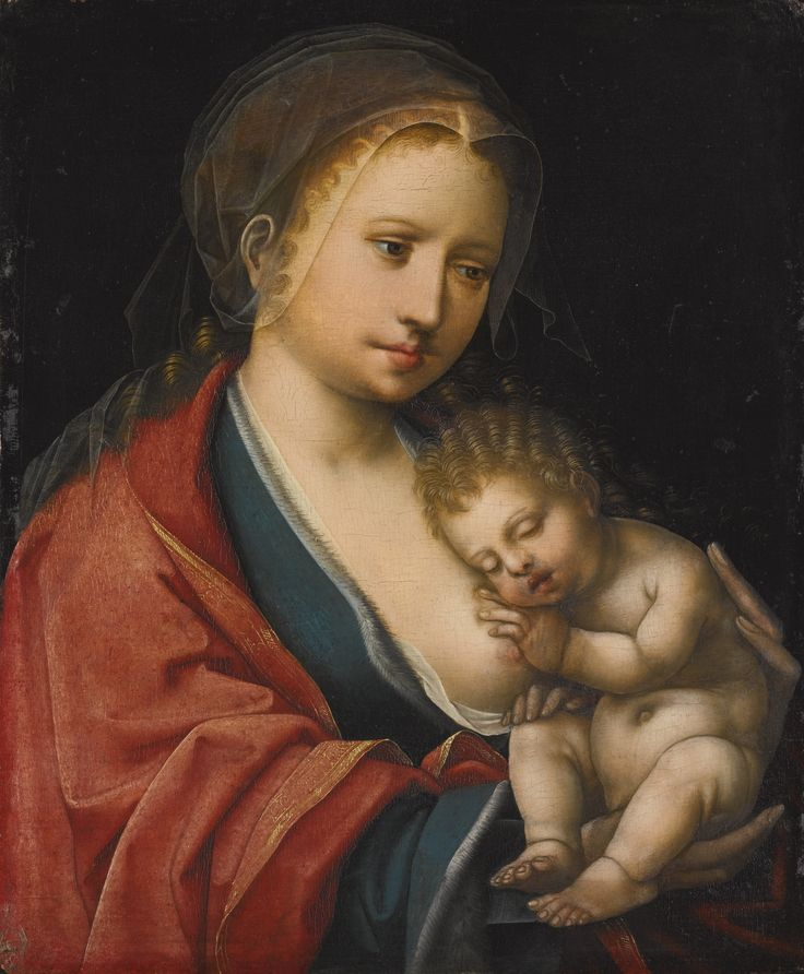 The Master of the Parrot ACTIVE IN ANTWERP IN THE SECOND QUARTER OF THE 16TH CENTURY THE VIRGIN AND CHILD oil on panel 24.9 by 20 cm.; 9 1/2  by 7 7/8  in: