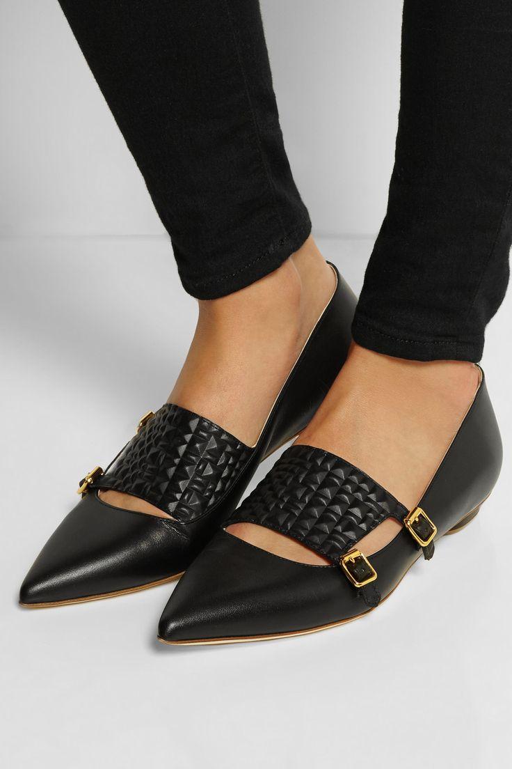 Rupert Sanderson|Isolde leather point-toe flats|NET-A-PORTER.COM