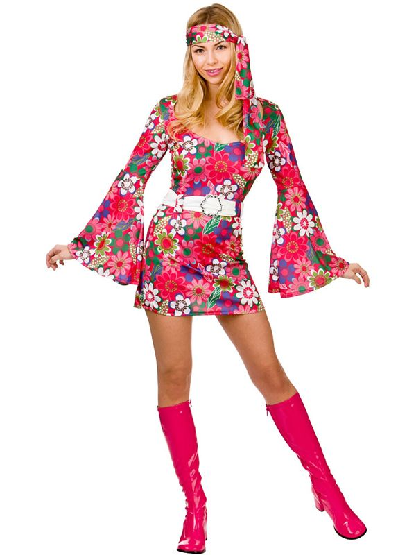 Ladies 1960s Flower Power Go-Go Girl Costume | 60s 70s 80s & 90s | Plymouth Fancy Dress, Costumes and Accessories