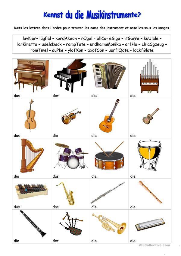 Kennst Du Die Musikinstrumente Musik Musik Arbeitsblatt