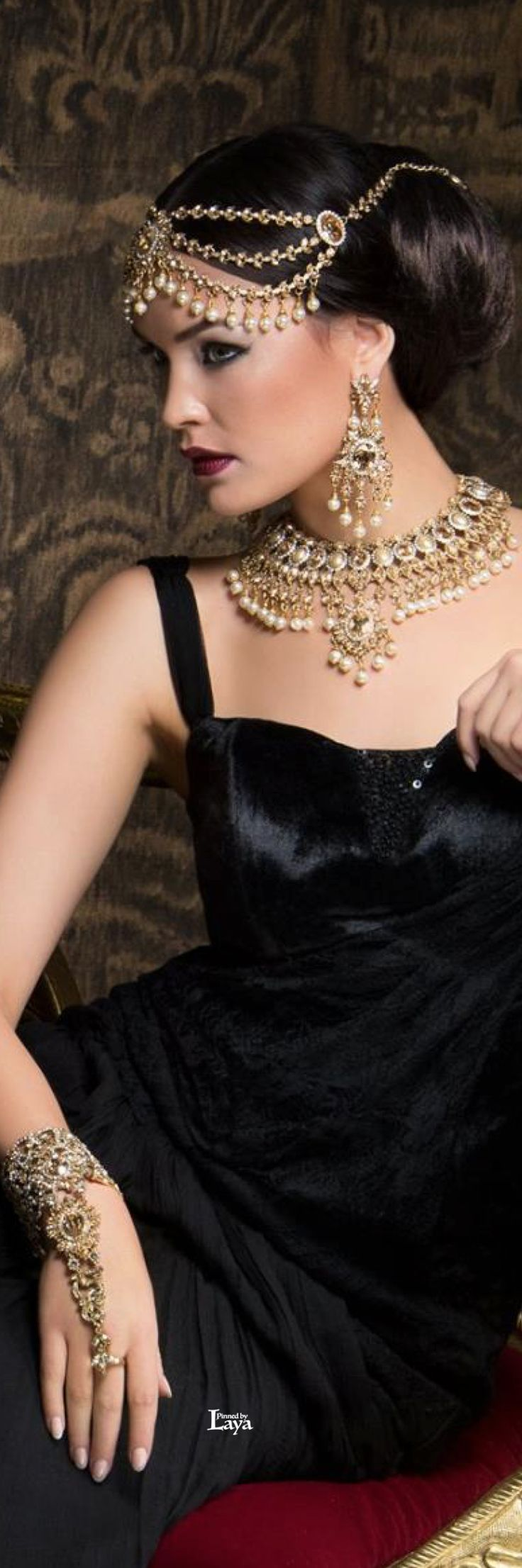 A Grande Masquerade; love her layered jewelry! #Indianwedding, #ShaadiShop