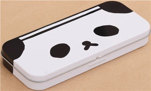 funny black and white panda face Ojipan pencil case tin can from Japan 2