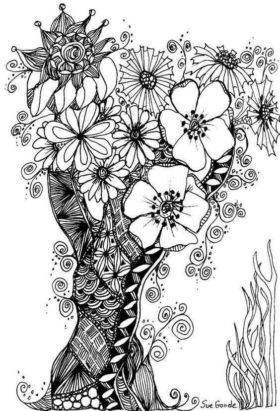 zen doodle coloring pages flower - photo#13
