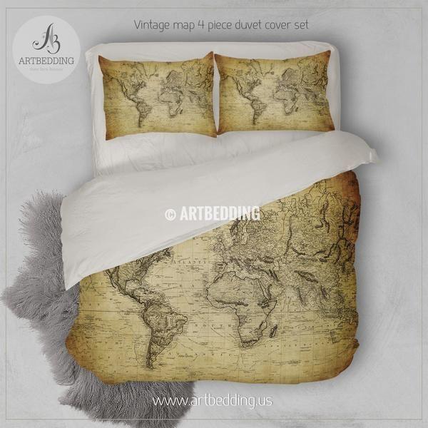 Vintage World Map Bedding Old Map Of The World 1814 Duvet Cover Set Antique Map Steampunk Comforter Set Duvet Cover Sets Creative Bedroom Bedroom Makeover