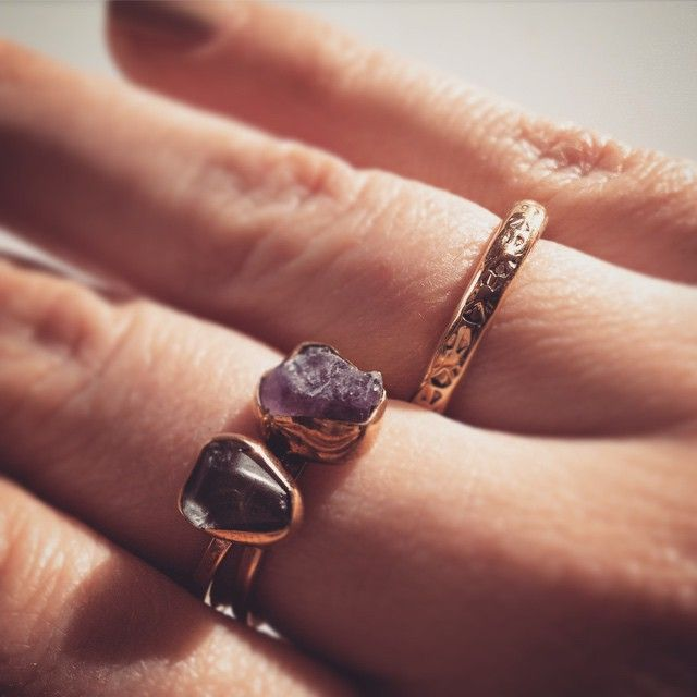Lissa Bowie love #LissaBowie #tumbaga #Canadian #stones #stackingrings #Toronto