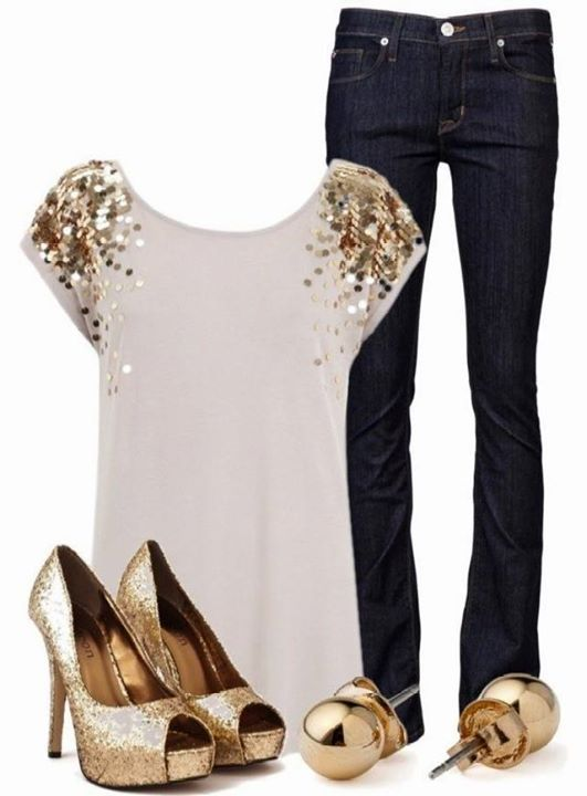 Gold and White Outfit for the holidays. Just needs at little red... Necklace, earrings, bracelet?