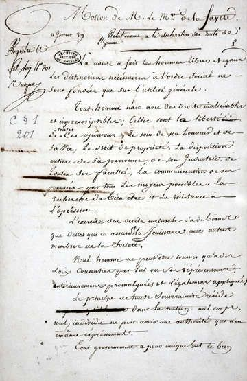 Motion de M. le marquis de La Fayete relativement à la Déclaration des droits de l'homme