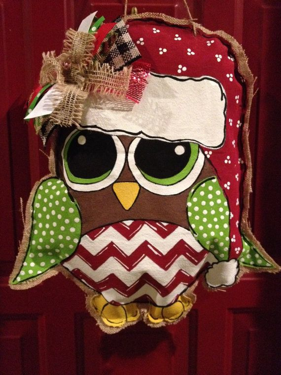 Christmas Owl Door Hanger, Christmas Decoration