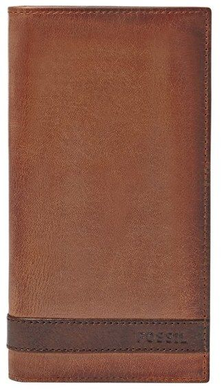 Men's Fossil 'Quinn' Leather Executive Checkbook Wallet - Brown
