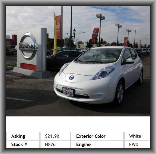 2013 Nissan LEAF SL Hatchback  1St And 2Nd Row Curtain Head Airbags, Rear Spoiler: Lip, Max Cargo Capacity: 30 Cu.Ft., Mp3 Player, Interior Air Filtration, Independent Front Suspension Classification, Video Monitor Location: Front, Rear Door Type: Liftgate,