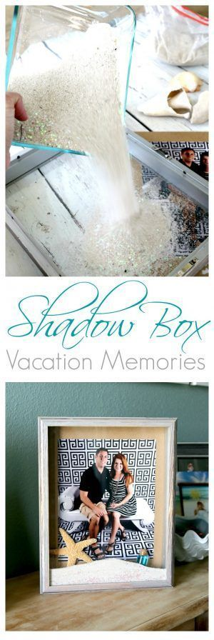 Beach DIY: Create Custom Memory Shadow Boxes with collected shells and sand from your vacation destination, so fun and easy! Gorgeous display for home decor