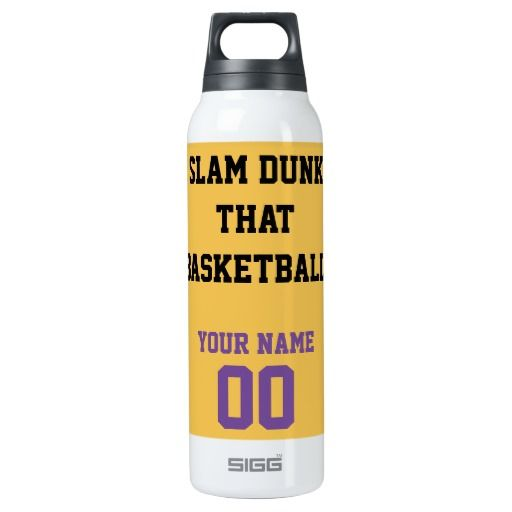 """""""Slam Dunk That Basketball"""" Original Slogan.  Fun one-of-a-kind yellow purple Basketball custom SIGG Thermo 0.5L Insulated Bottles top quality Stainless Steel 100% BPA free.  Designed to keep your COLD liquids Cold, HOT liquids Hot up to 8 hours.  Choose Your TEAM Color NAME NUMBER Fonts and Background colors.  ORDER 1-500 Bottles Personalized for your Personal Use, Coaches, Teams or Stores.  Original Slogan text saying & Graphic Design © TamiraZDesigns via:  www.zazzle.com/tamirazdesigns*"""