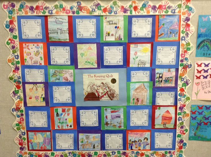The Keeping Quilt by Patricia Polacco... Students decorate a quilt piece about family and write a paragraph about their family traditions