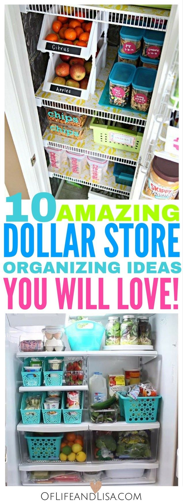 Check out this post to learn how to use cheap dollar store bins and baskets to organize your home on a dime!