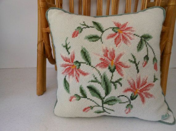 Elegant Needlepoint Pillow Vintage Hand Made by PatziPlace on Etsy