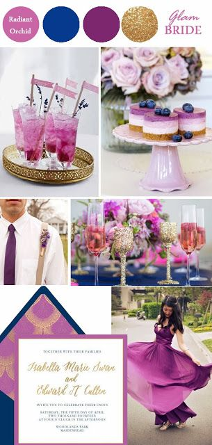 Radiant Orchid (#Pantone Color of 2014):   4 ways to use it in your #Wedding Color Palette @She Said Oui