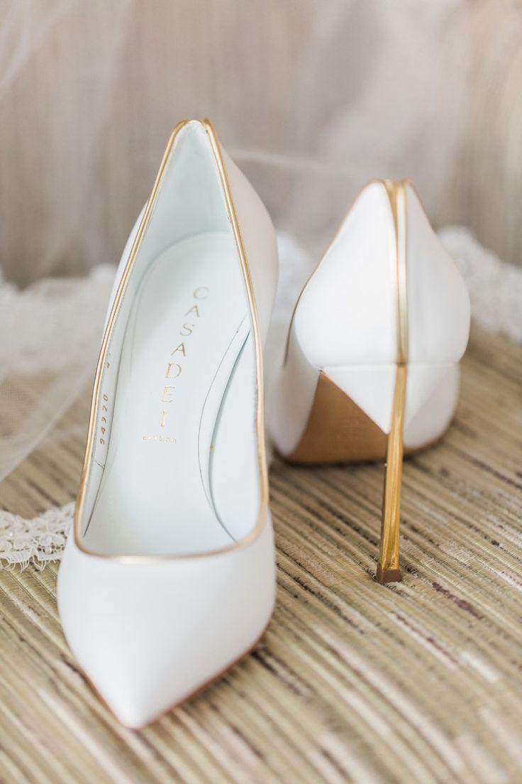 Beachy Miami Wedding at The Ritz-Carlton Bal Harbour, FL  Stunning white and gold wedding shoes!   Photographer: Landon Hendrick Photography