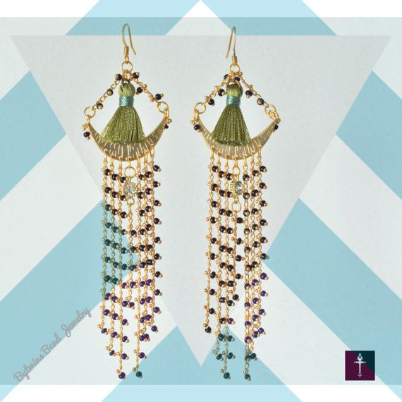 Threader Chandelier Bollywood style Statement Earrings by BYTWINS