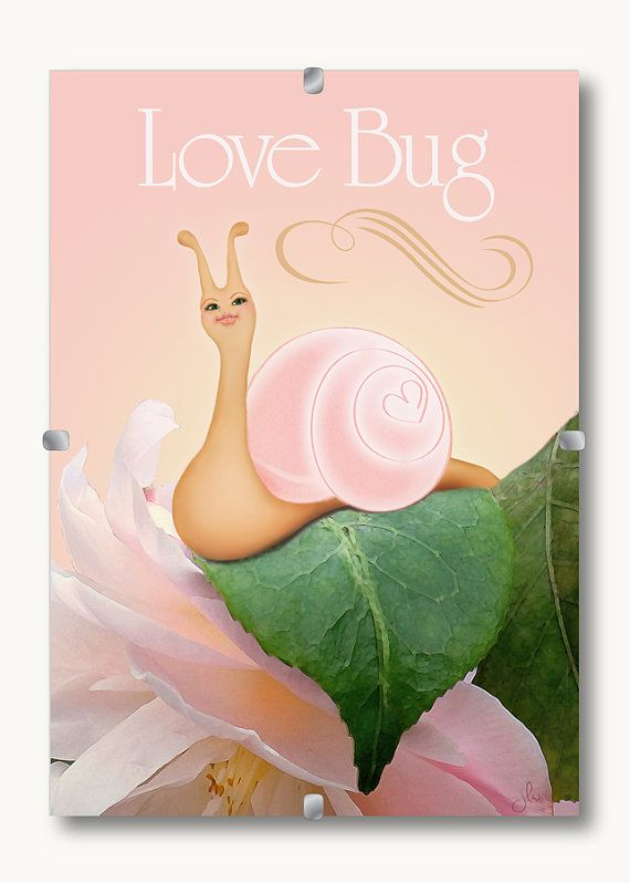 Escargot Love Bug Snail with Pink Back Ground. 5x7 luster or matte finish print. Framing options available.