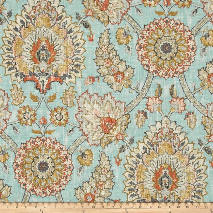 Waverly Clifton Hall Blend Opal from @fabricdotcom  Screen printed on a linen/rayon blend this medium/heavyweight fabric is very versatile and perfect for window treatments (draperies, valances, curtains, and swags), toss pillows and upholstery. Colors include orange, grey, gold, ivory, tan and aqua. This fabric has 15,000 double rubs.