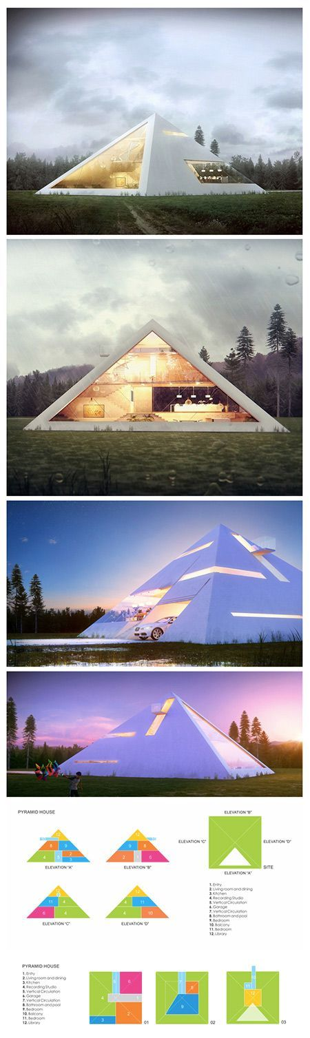 Original Pin: We've seen our fair share of unique modern home designs like the box-shaped metallic house or the abstract fortress made of concrete, but Mexican architect Juan Carlos Ramos has taken on a form less-visited for his aptly titled project Pyramid House—a conceptual pyramid-shaped home created and submitted as a proposal for a recent architecture competition. The simple geometric shape creates a clean aesthetic, while remaining extremely eye-catching due to its iconic though rarely…