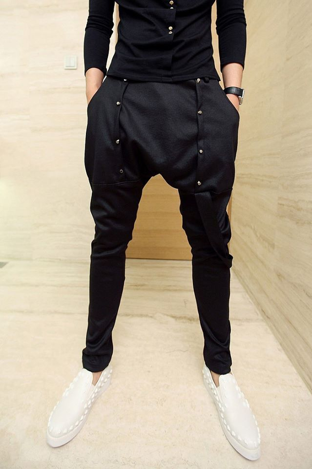 Korean Style Solid Color Studs Embellished Polyester Parachute Pants For  MEN Now: USD 35.49