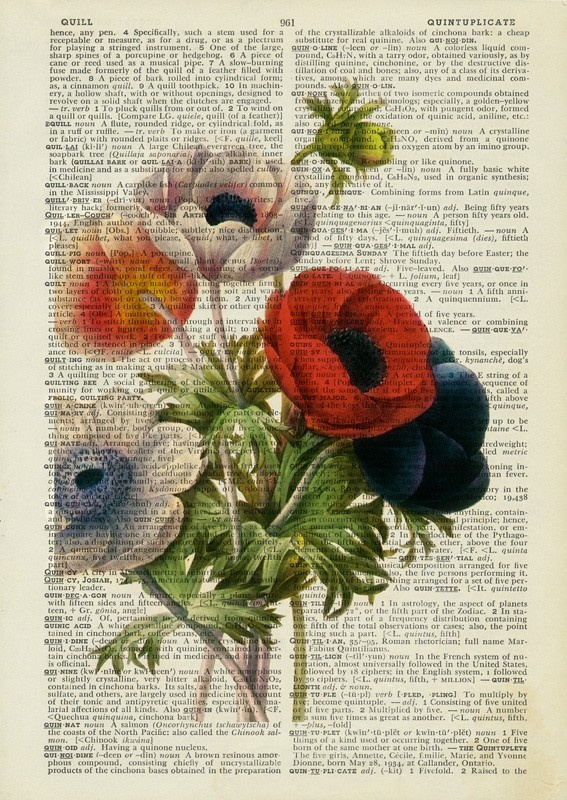 Vintage anemone painting printed on old page from dictionary from Etsy - FauxKiss $12