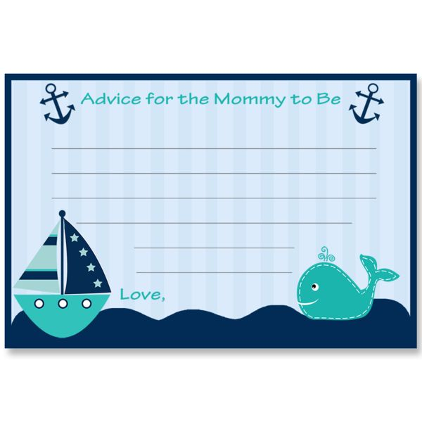 Have guests offer new mommy advice atyour boy baby shower with this fun and classic blue striped nautical themed advice cardfeaturing a tealsailboat, whale,