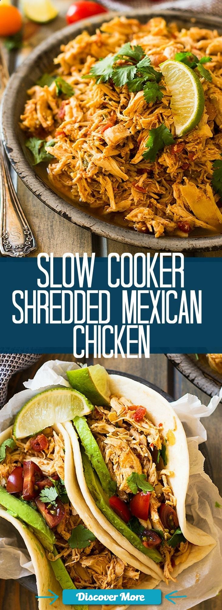This easy Slow Cooker Shredded Mexican Chicken is a great base recipe to use for tacos, enchiladas, nachos, burritos, salads or just serve it over rice. | www.countrysidecr... #slowcooker #slowcook #slowcookerrecipes #slowcookerchicken