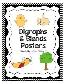 Blends and Digraphs Posters - Black Chevron.  Available in many colors with excellent matching graphics and great for primary classrooms!