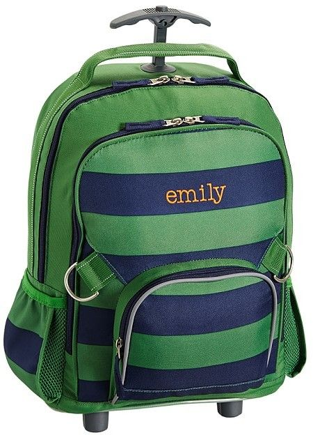 Pottery Barn Kids Rolling Backpack, Fairfax Green/Navy Stripe