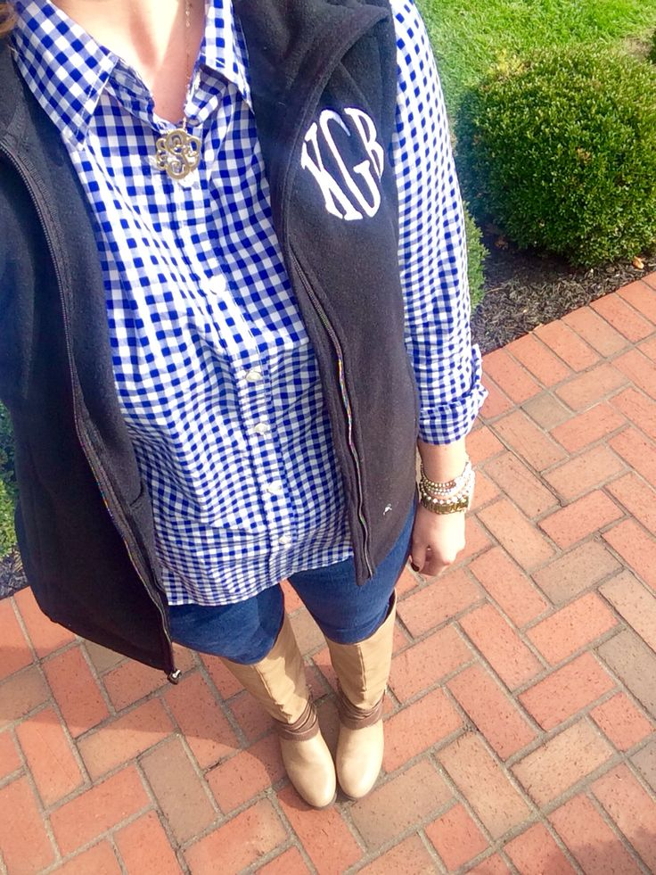 Plaid gingham shirt- JC Penny, vest and necklace- Marly Lilly