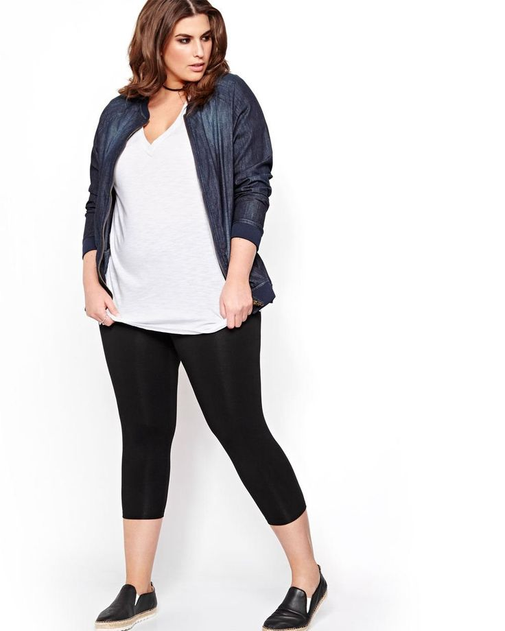 Here's a wardrobe staple: a plus size capri legging. This pair is totally opaque and can be worn under a cool tunic. This piece is perfect for a layered look with a trendy cami and a long plus size cardigan. 21 inch inseam.