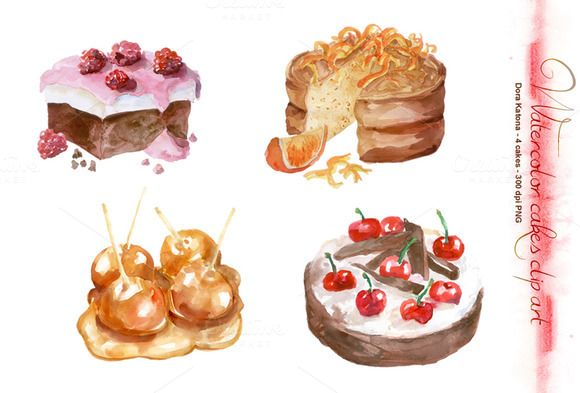 Check out Watercolor Cakes Clip Art by Dora Katona on Creative Market