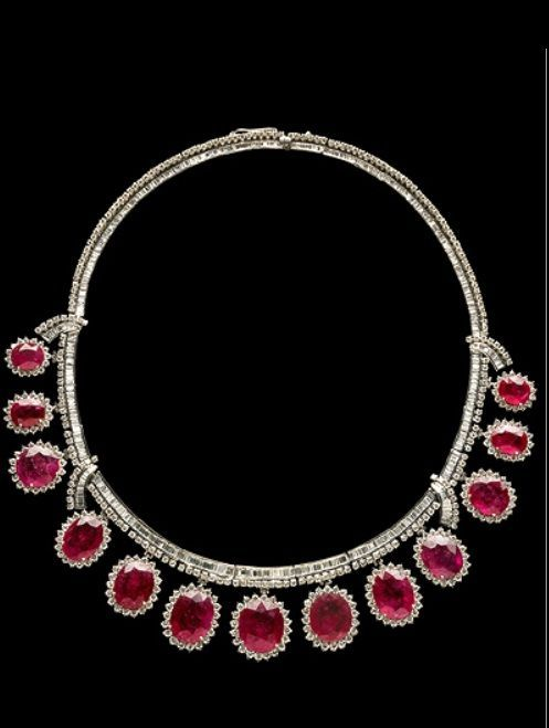 Ruby and Diamond Necklace Rubies and diamonds set in platinum necklace 113 carats of ruby