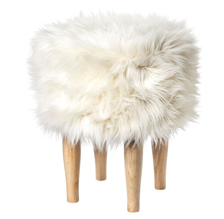 Nate Berkus For Target New White Faux Fur Stool Footstool