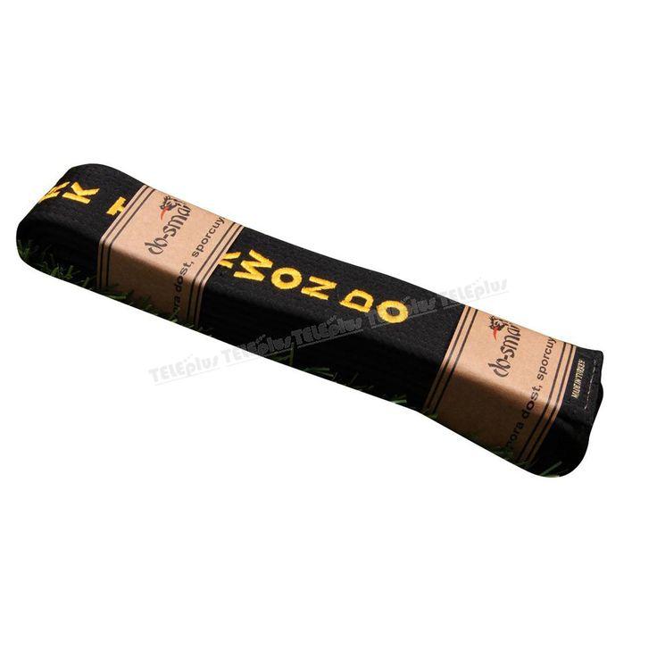 """Do-Smai Taekwondo Nakışlı Siyah Kuşak TK-256 - 220 gr/m² % 40 pamuk+%60 polyester siyah kumaştan üretilen dış yüzey. İç dolgusunda (±%3) 650 gr/m² gelen ham bez kullanılmaktadır:  Türkçe-Kore'ce """"Türk Taekwondo"""" nakışldır.  160-180-200-220-240 cm. 5 boy mevcuttur. - Price : TL60.00. Buy now at http://www.teleplus.com.tr/index.php/do-smai-taekwondo-nakisli-siyah-kusak-tk-256.html"""