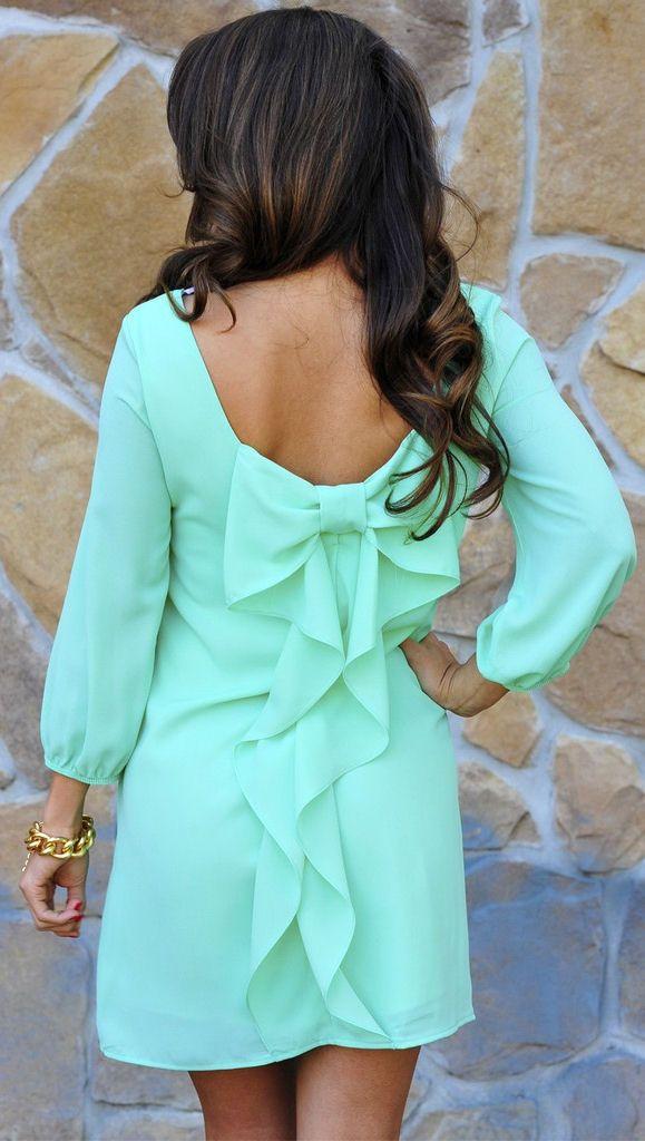 Mint Bow Back Dress <3