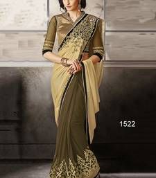 Buy chiku and mehendi embroidered chiffon saree with blouse party-wear-saree online