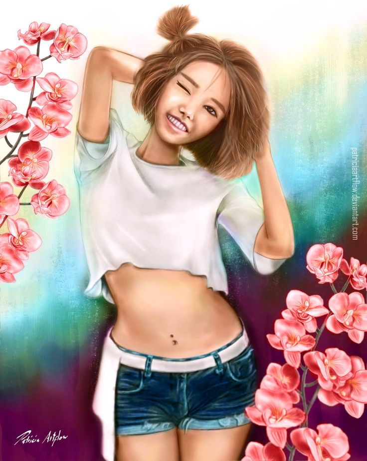 Digital art, painting of a cute and happy asian young woman