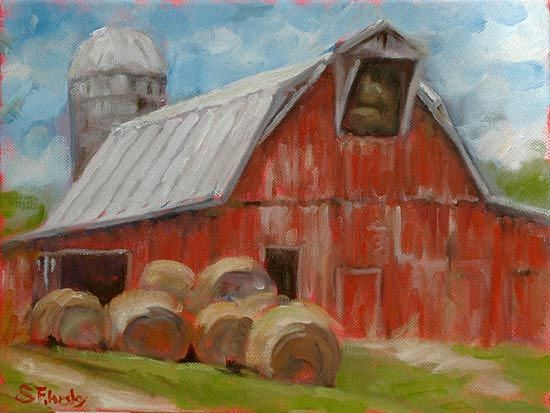 Stephen Filarsky, Oil Painting of Red Barn with Round Bales