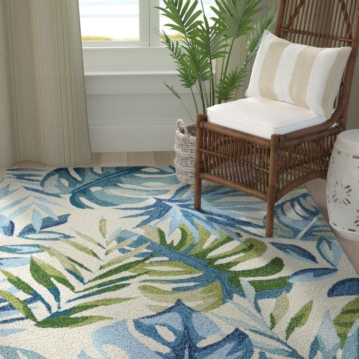 Ross Floral Handmade Tufted Ivory Blue Area Rug Blue Area Rugs Area Rugs Beach Rugs