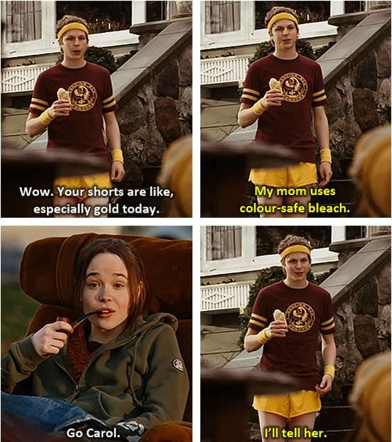 Juno. Wow. Your shorts are like, especially gold today. My mom uses colour-safe bleach. Go Carol. I'll tell her.