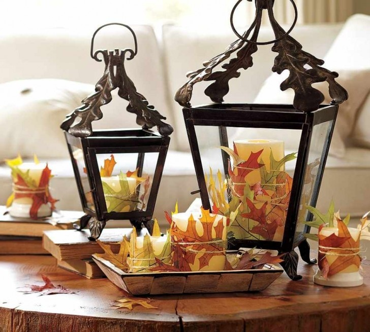 diy autumn decoration and centerpiece ideas love the leaves wrapped around the candles find this pin and more on home decor accessories