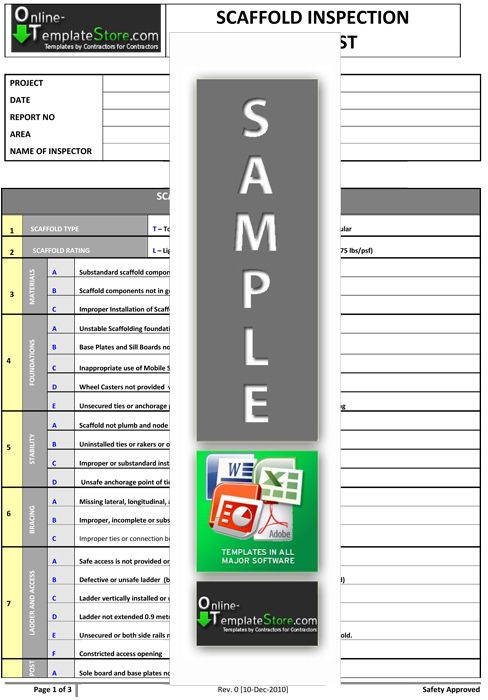 Scaffold inspection health safety templates for Scaffold inspection checklist free template