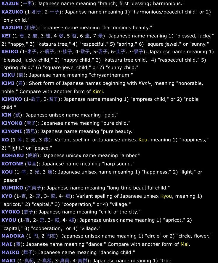 Some Female Japanese Names