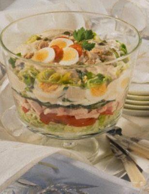 Schichtsalat mit Thunfischsoße (Putenbrust fehlt in Zutatenliste, evtl. Käse ergänzen)