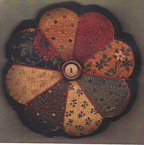 Primitive Folk Art Fabric/Wool Pincushion by PrimFolkArtShop, $5.50